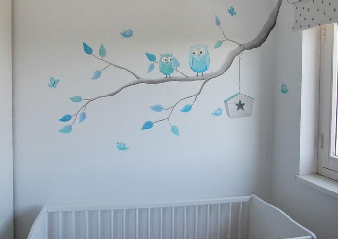 tak met uiltjes muurschildering, Deco ideeën