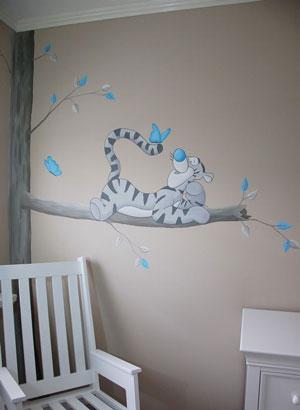 Tijgertje teigetje muurschildering winnie the pooh babykamer for Muurdecoratie babykamer