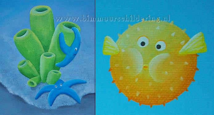 Behang Kinderkamer Vissen : Vissen koraal muurschildering onderwater wereld