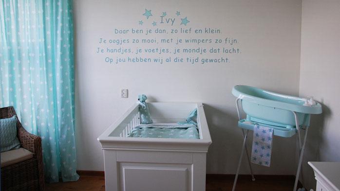 Babykamer gedichtjes muurteksten geboortekaartje tekst muurschildering - Thema baby boy kamer ...