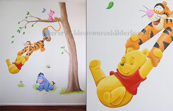 Muurstickers Winnie The Pooh Zwart Wit.Muurschildering Winnie The Pooh Kinderkamer Muurtekening Babykamer